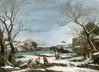 winter landscape with faggot gatherers by giuseppe baccigaluppo