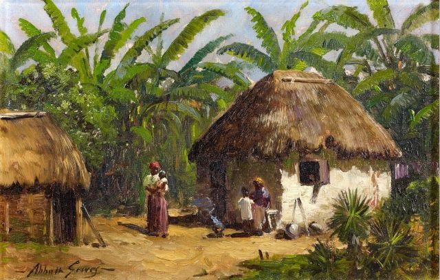 famille au pied dune hutte près dune bananeraie by abbott fuller graves