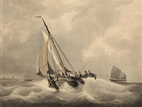 a paviljoenpoon in a stiff breeze, other ships in the distance by h.h. roelse