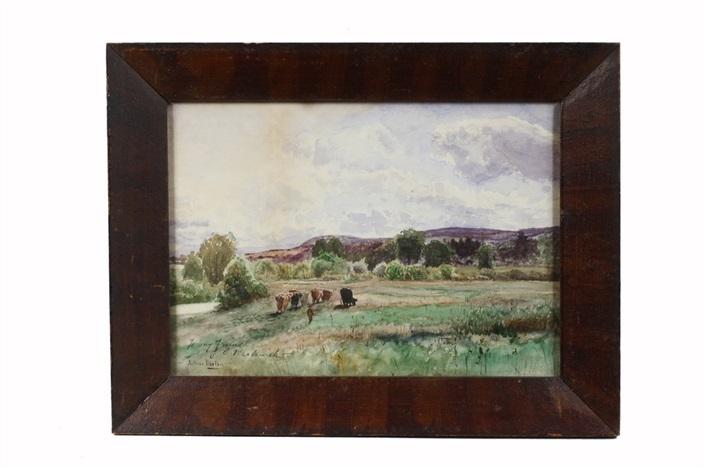 pastoral landscape with cowherd by arthur parton