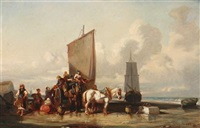 fisherfolk on the coast by jules achille noel