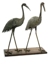 cranes (pair) by japanese school- meiji