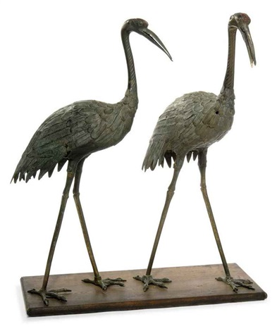cranes pair by japanese school meiji