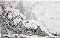 eine trauernde weibliche figur, auf dem boden sitzend und den kopf in die rechte hand gestützt by alexander runciman