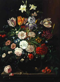 mixed flowers in a glass vase on a ledge by david davidsz de heem the younger
