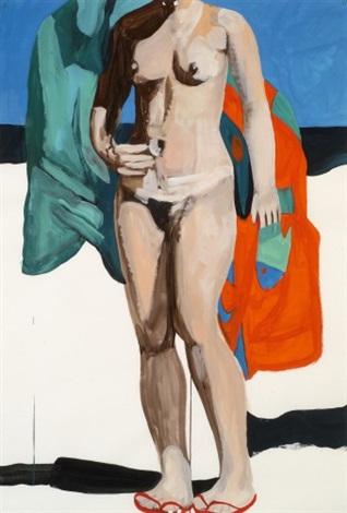 nu avec serviette aux poissons by marc desgrandchamps