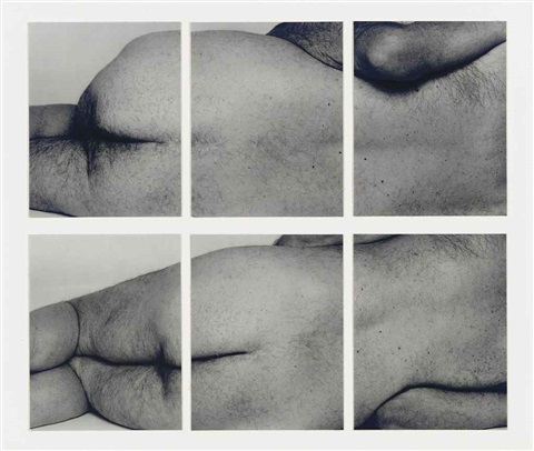self portrait (reclining figures, two panels, no.2) (triptychs mounted together) by john coplans