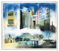 architectural designs old and new: dubai, beijing, berlin and los angeles (+ another, lithograph; 2 works) by richard davies