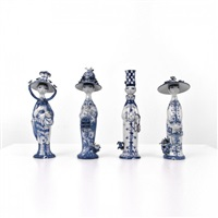 collection the four seasons of four large, hand-painted and finely detailed figurines by bjørn wiinblad