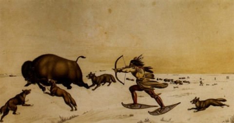 western winter landscape with an indian running in snow shoes to down a buffalo surrounded by dogs in the foreground with additional indians hunting buffalo by peter rindisbacher