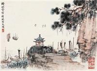 太湖夕照 镜片 设色纸本 (landscape) by qian songyan