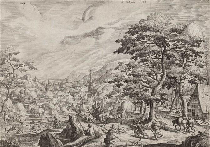 landschaft mit einer jagdgesellschaft by hans bol