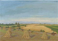 workers in a corn field, corn sheaves in the foreground by henk melgers