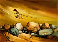 paisaje australiano con hombre canguro by josé cabello ruize