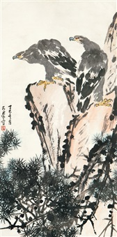 双鹰图 (eagle and rock) by jiao kequn