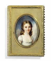 a child, in décolleté white dress, long curling fair hair by jean baptiste jacques augustin