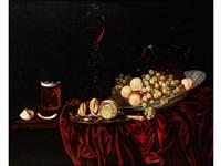 grosses früchtestilleben mit glaspokal, bierglas und zitrone by georg hainz