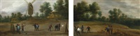 the peasants practicing archery; peasants playing bowls (pair) by david teniers the younger