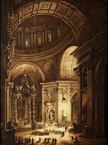 det brinnande fastlagskorset i st peterskyrkan illumination de la croix de saint pierre à rome by louis jean desprez