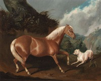 a palomino pony and a bull mastiff in a landscape by joseph (of worcester) dunn