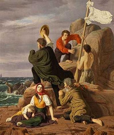 skibbrudne på en klippe som i det fierne opdage et skib til deres frelse by peter johann p raadsig