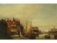 dutch townscape with river, and companion by johannes frederik hulk the elder