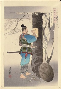 scenes of warriors and figures in blossoming landscapes and in interiors (18 works) by ogata gekko