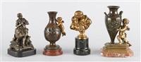 le baiser, tonnelier et deux vases soutenus par des amours (4 works) by jean-antoine houdon