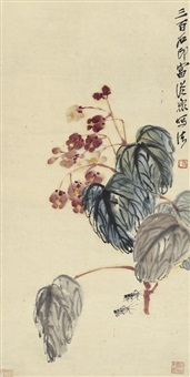 海棠蟋蟀图 (begonia and cricket) by qi baishi