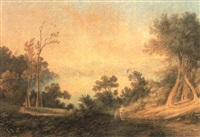 the residence of james devlin esq., kissing point as seen  from concord, evening 1844 by henry curzon allport