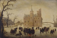 a winter landscape with figures skating before a manor by anthonie van stralen