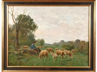 jeune berger et troupeau de moutons by clement (charles-henri) quinton