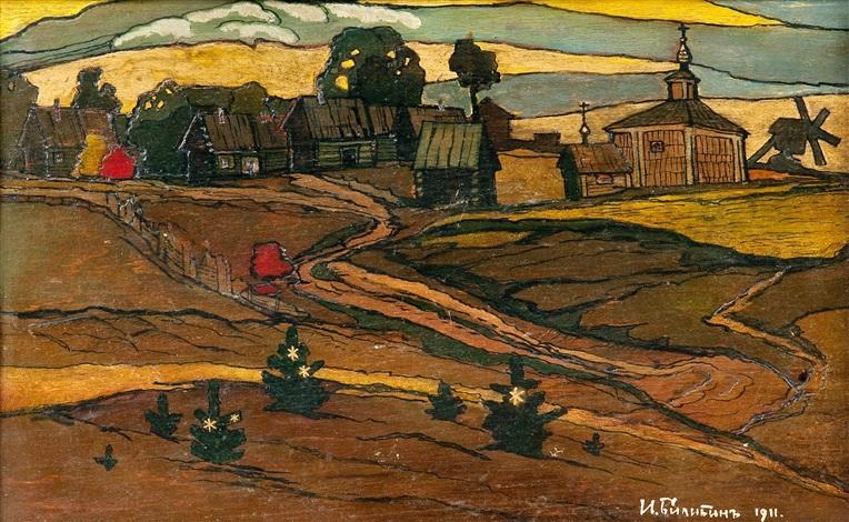rural landscape by ivan yakovlevich bilibin