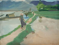 rice fields by the river by luong xuan nhi