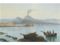 a view of naples with vesuvius erupting in the distance by augusto corelli