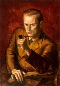 porträt eines mannes mit pfeife by wilhelm lachnit