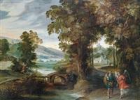 bewaldete landschaft mit tobias und dem engel by jacob symonsz pynas