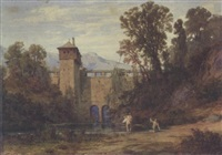 landscape with two bathers near a bridge by alfred (wilhelm) metzener