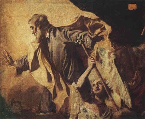 saint joseph accompanied by two angels by giuseppe angeli