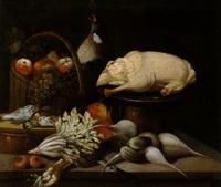 natura morta con verdure, frutti e una oca spennata by sebastiano ceccarini