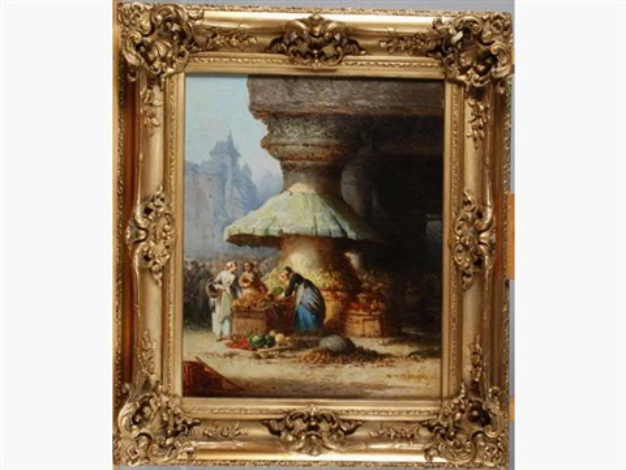 scène de marché en normandie by léonard saurfelt