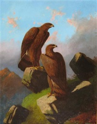 eagles on a mountain top in the highlands by robert henry roe