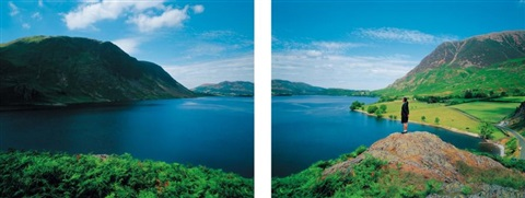 staring at the lake 4 diptych by weng fen weng peijun
