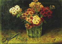 still life of cut flowers in glass on table by j. heyl raser