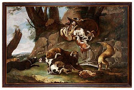 jaktmotiv med hundar och björn by carl borromaus andreas ruthart