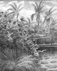 landscape with palm trees, hibiscus and egrets by laura woodward