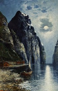 views of norwegian fiords (pair) by olav brysterp