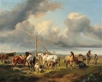 horses watering by joseph heicke
