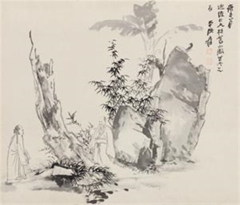 山园会友 figure by zhang daqian