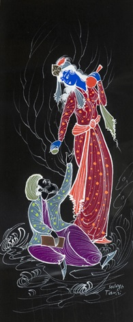 blue and black figures (2 works) by sadegh tabrizi